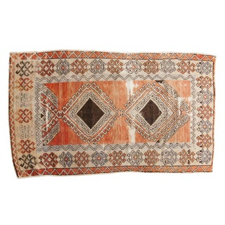 "Vintage Distressed Oushak Rug - 3'7"" X 5'10"" For Sale"