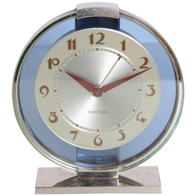 Machine Age Art Deco Westclox Desk Clock Chrome with Cobalt Glass For Sale - Image 11 of 11