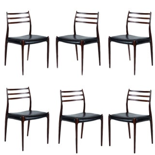 Set of Six Niels Møller Dining Chairs Model #78 For Sale