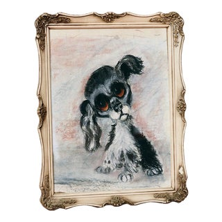 Vintage Framed Kitsch Charcoal Dog Portrait For Sale