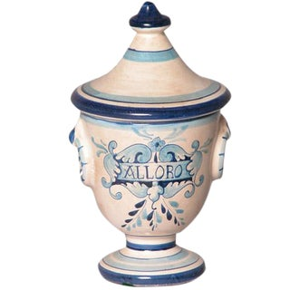 Italian Hand Painted Ceramic Alloro Laurel Urn For Sale