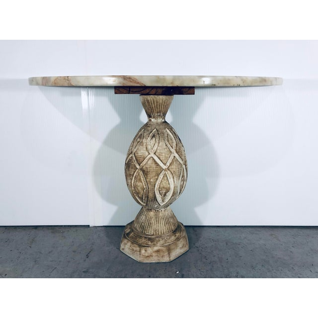 Mediterranean Pineapple Sculpted Demi Lune Table With Marble Top, 1970s For Sale - Image 4 of 11