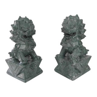 1950s Vintage Grayish Green Hand Carved Soapstone Foo Dogs Figurine- a Pair For Sale