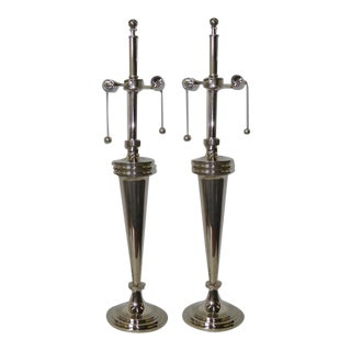1970s Mid-Century Modern Chrome Mutual Sunset Table Lamps - a Pair For Sale