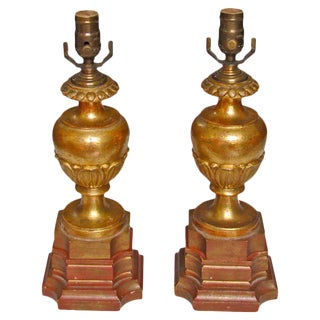 1920s Traditional Carved Wood Water Gilt Lamps - a Pair