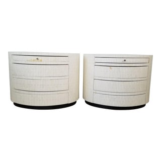 Enrique Garcel Tessellated Bone Oval Nightstands / End Tables - a Pair For Sale