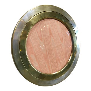1960 Round Brass Photo Frame For Sale