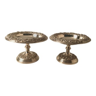 Sterling Silver Repousse' Compotes by Kirk - A Pair For Sale