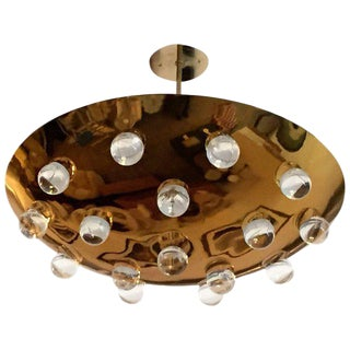 1960s Mid-Century Modern French Brass Crystal Orb Pendant Lighting For Sale