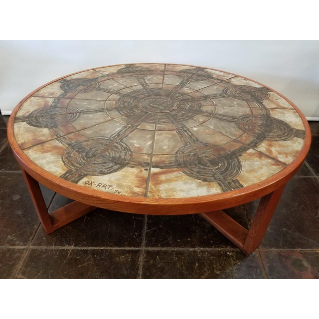 1974 Mid Century Danish Modern Round Cocktail Table By