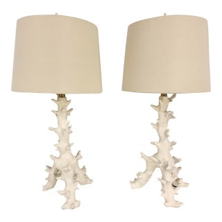 Organic Modern Faux Coral Table Lamps With Linen Shades - a Pair For Sale