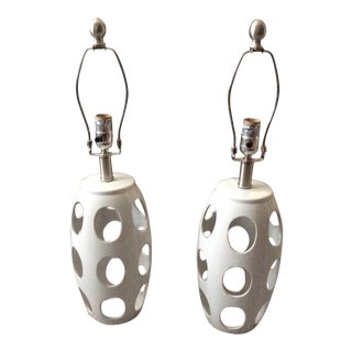 Mid-Century Mod Style White Lamps - a Pair For Sale