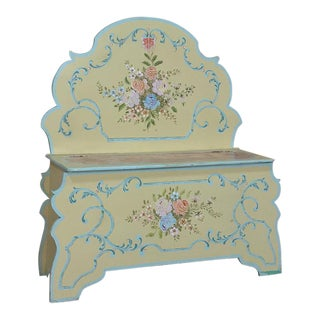 Antique Italian Hand-Painted Hall Bench For Sale