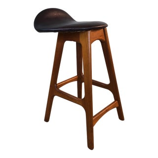 Mid-Century Erik Buck Danish Teak & Leather Stool For Sale