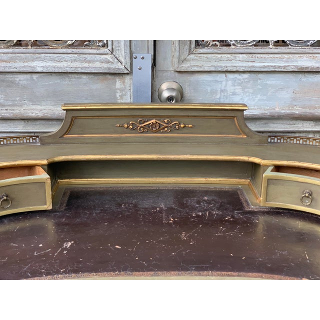 Antique Painted French Writing Desk With Parcel Gilt and a Leather Top For Sale In Houston - Image 6 of 11