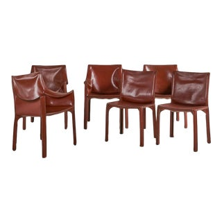Set of 6 Mario Bellini for Cassina Leather Cab Dining Chairs For Sale