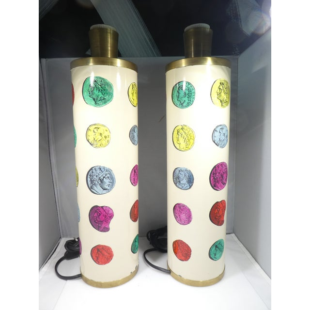 Fornasetti 1960s Vintage Piero Fornasetti Cameo Lamps - a Pair For Sale - Image 4 of 13