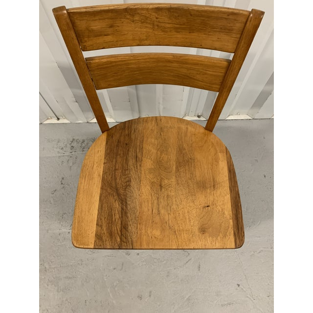 Hickory Chair Furniture Company Vintage High Point Bending & Chair Co. Solid Oak School Chair For Sale - Image 4 of 8