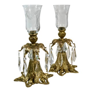 Baroque Hollywood Regency Style Brass and Crystal Hurricanes Candle Holders - a Pair For Sale