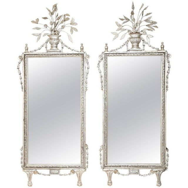 1920s 1920s Silver Leafed Italianate Mirrors - a Pair For Sale - Image 5 of 5