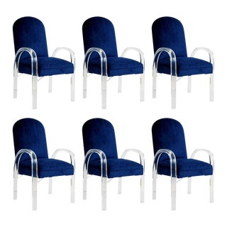 Charles Hollis Jones Attributed Lucite Dining Chairs, Set of Six, circa 1970