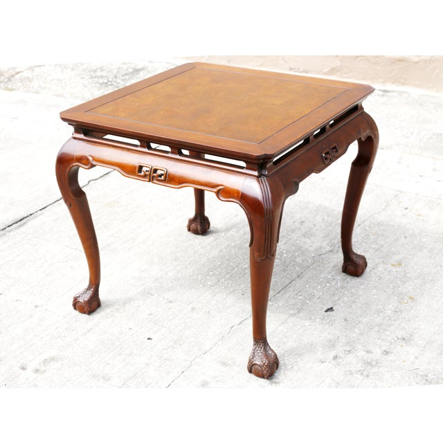 A vintage wood Chinoiserie side table by Drexel Heritage, with square shape, curved legs and clawfoot/ball feet. Good...