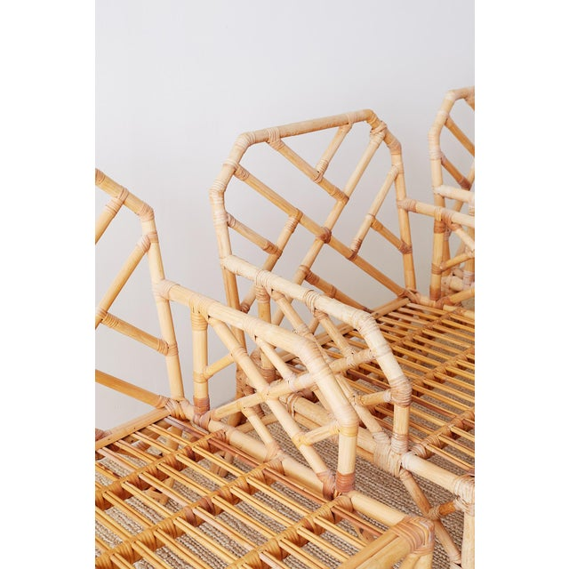 Mid 20th Century Brown Jordan Chinese Chippendale Rattan Bamboo Lounge Chairs For Sale - Image 5 of 13