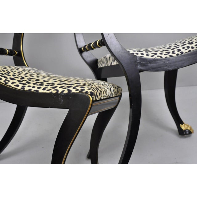 Metal Black and Gold Regency Style Paw Feet Dining Chairs - Set of 6 For Sale - Image 7 of 12
