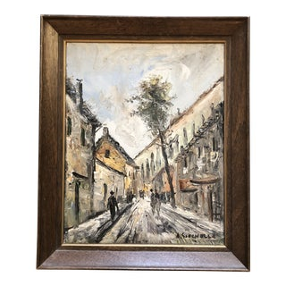 Original Mid Century Impressionist City Scape Painting Signed For Sale