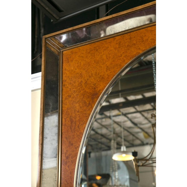 1950s Monumental Burl and Glass Art Deco Mirror For Sale - Image 5 of 7