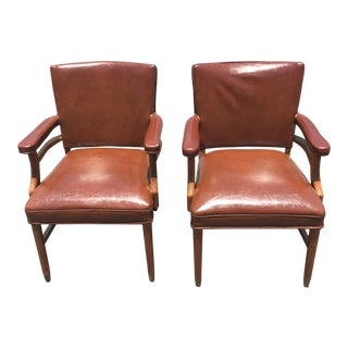 1960s Danish Modern Brown Leather Armchairs - a Pair For Sale
