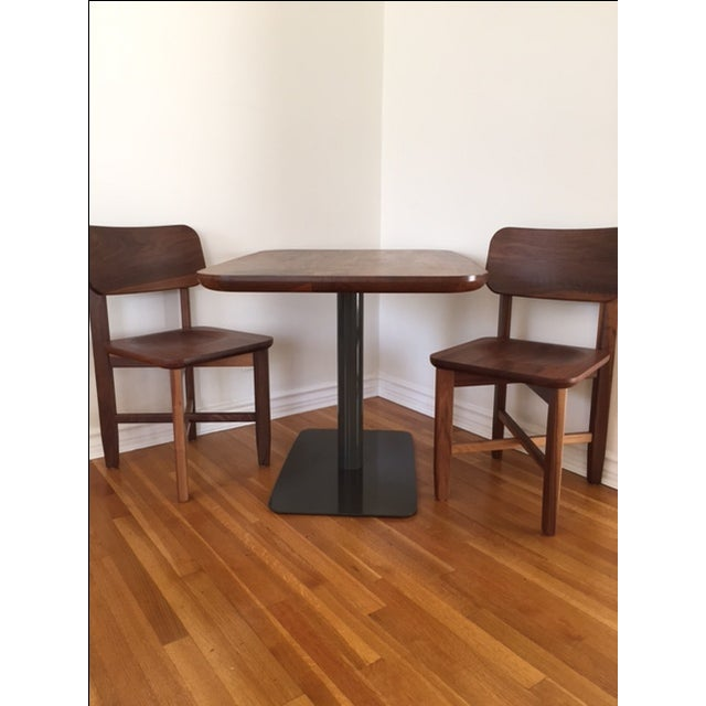 Rich Walnut Cafe Table & 2 Chairs - Image 2 of 9