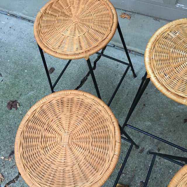 1960s Vintage Danny Ho Fong Iron and Wicker Bar Stools - Set of 6 For Sale - Image 9 of 11