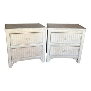 Henry Link Wicker Lexington Side Tables - a Pair For Sale
