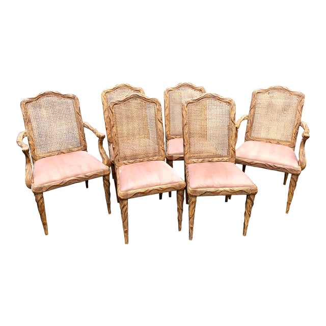 Faux Bois Dining Chairs - Set of 6 For Sale