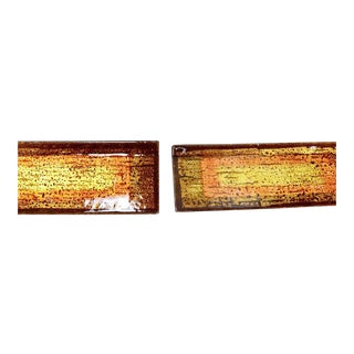 Mid Century Modern Italian Glass Door Handles Enamel Art Studio Del Campo - a Pair For Sale