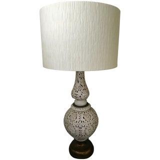 Vintage Hollywood Regency Tall Ceramic Table Lamp & Shade