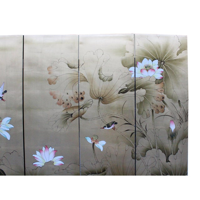 Chinese Golden Oriental Lotus Flower Birds Graphic Screen For Sale - Image 4 of 12