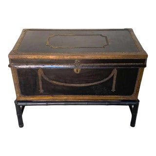 19th Century English Regency Brass Studded Leather Chest on Stand For Sale