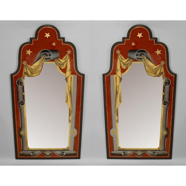 Italian Art Deco Style Red, Gold, And Grey Painted Eglomise Wall Mirrors- A Pair For Sale - Image 4 of 4