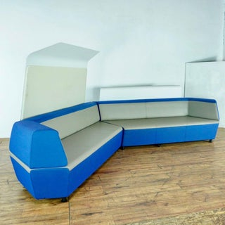 Steelcase Contemporary Blue and Gray Upholstered Sectional Sofa Preview