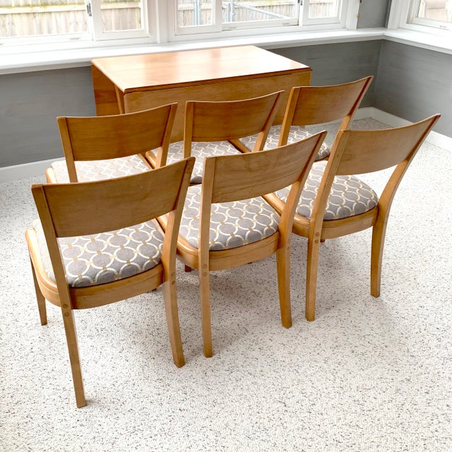 Mid-Century Modern Heywood-Wakefield Harmonic Drop Leaf Dining Table Set - 7 Pieces For Sale - Image 6 of 13