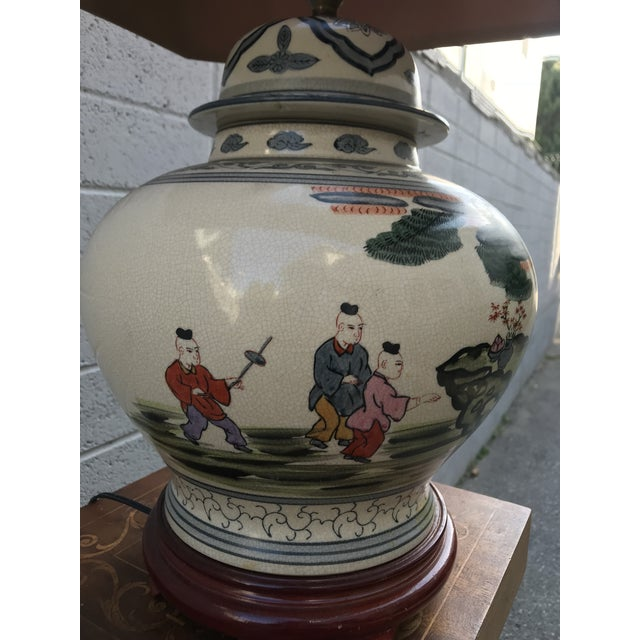 Mid 19th Century Antique Rare Chinoiserie Hand Painted Ginger Jar Lamp For Sale - Image 5 of 13