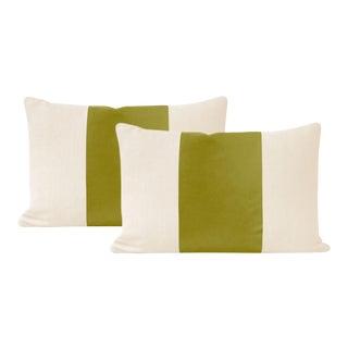 "12"" X 18"" Chartreuse Italian Velvet Panel Lumbar Pillows - a Pair For Sale"