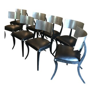 Klismos Black & Silver Dining Chairs - Set of 8 For Sale