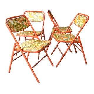 1960s Retro Peter Max Style Flower Power Vinyl Orange Folding Chairs- Set of 4 For Sale