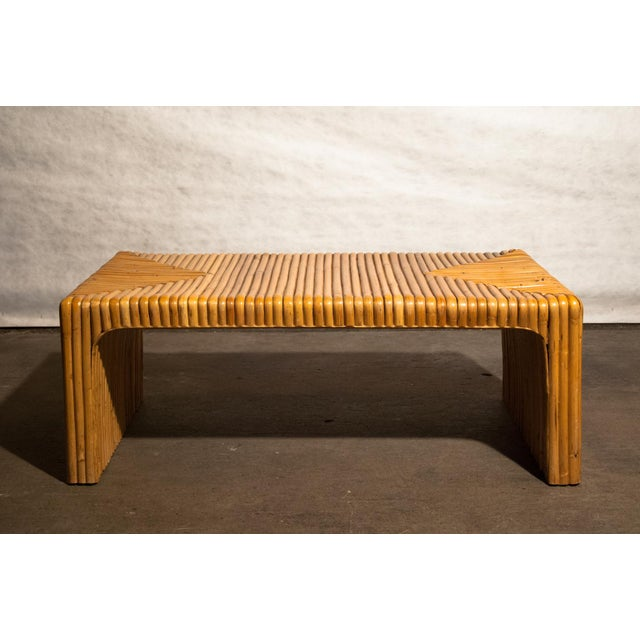 Tan Circa 1950 Vintage Japanese Rattan Waterfall Coffee Table For Sale - Image 8 of 8