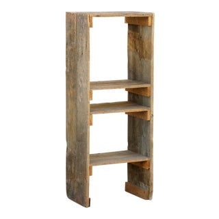Antique Distressed Wooden Bookcase For Sale