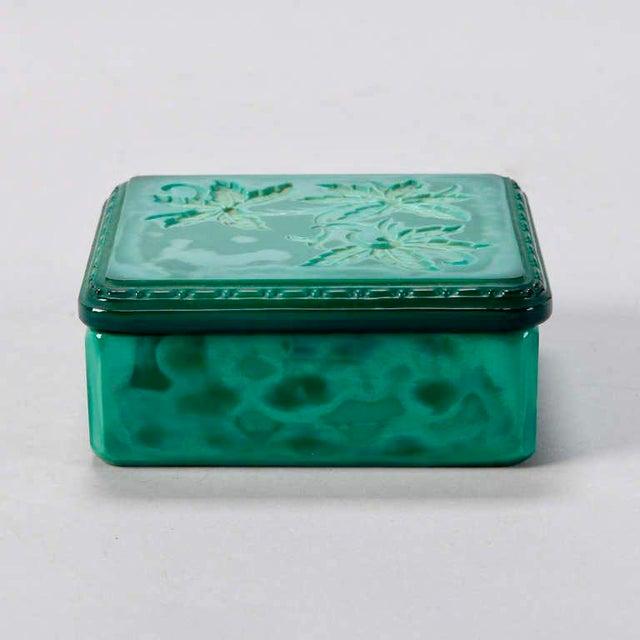 Art Deco Art Deco Bohemian Czech Square Malachite Glass Box For Sale - Image 3 of 6