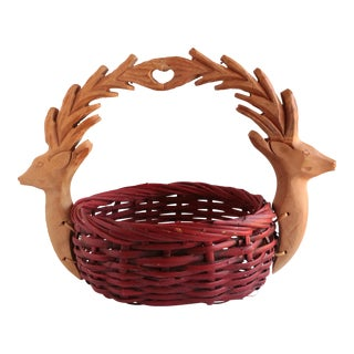 Red Stag Handled Basket For Sale